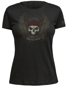 720gear dames T-shirt lethal angel zwart